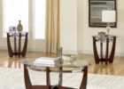 oval coffee table sets solid wood