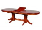 oval dining table pedestal base double  transition in espresso