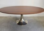 oval dining table pedestal base with metal legs