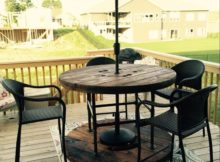 patio with outdoor coffee table with umbrella hole
