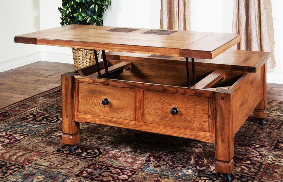 pull up coffee table oak mechanism