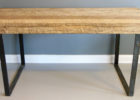 reclaimed wood wood dining table with metal legs design