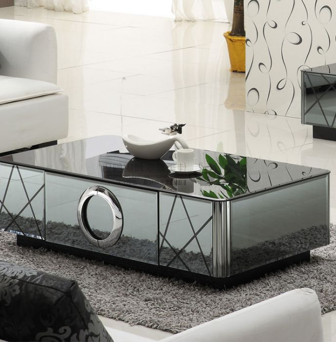 rectangle cheap mirrored coffee table