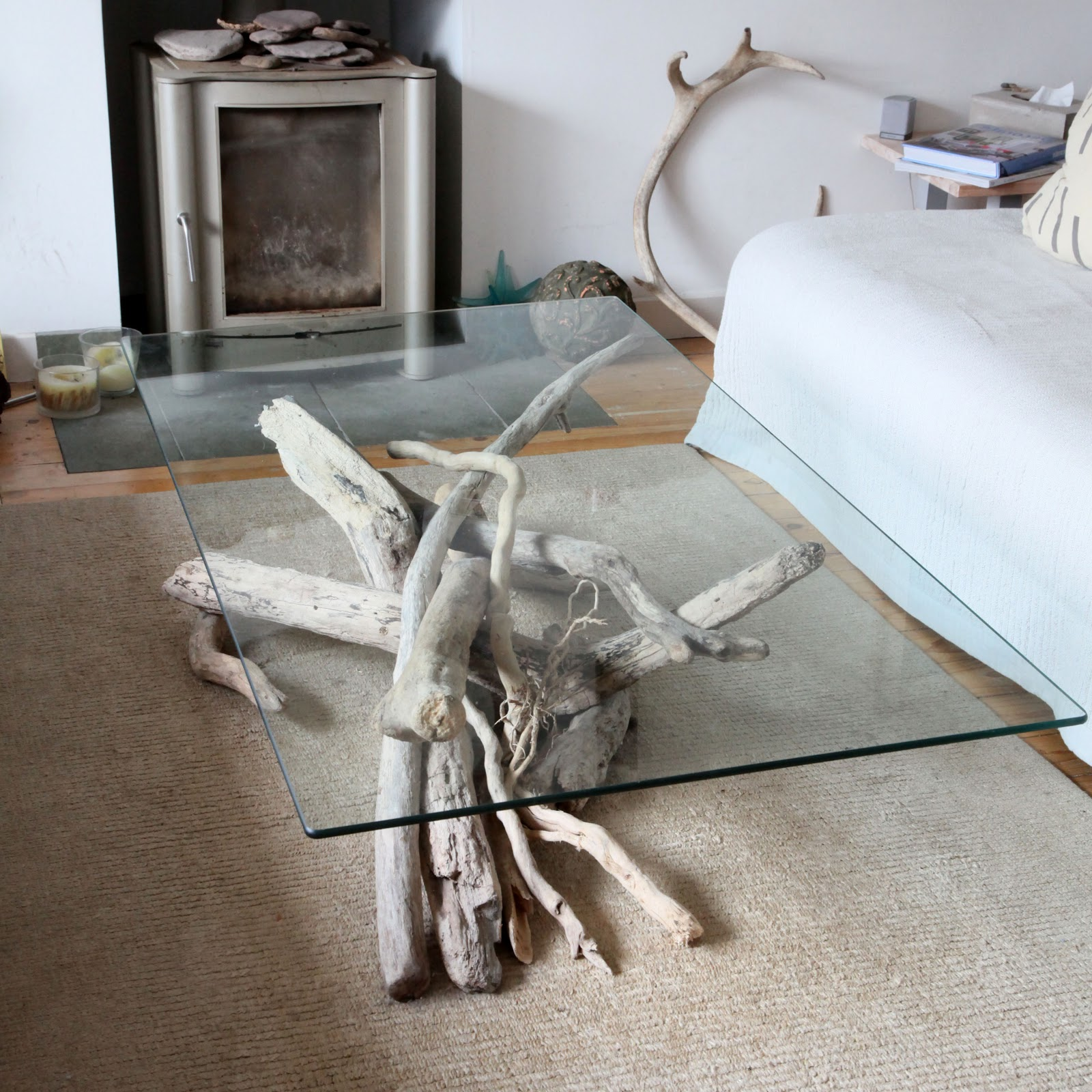 rectangular glass driftwood coffee tables for sale uk