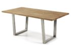 rectangular reclaimed wood dining table with metal legs