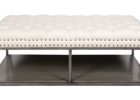rectangular tufted white leather ottoman coffee table with storage