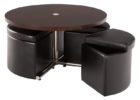 round black coffee table with pull out ottomans