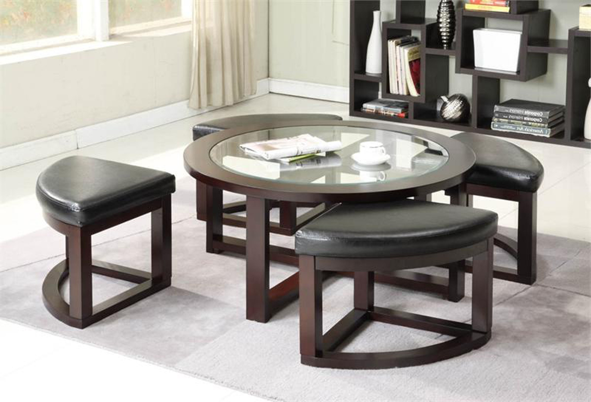 round black coffee table with pull out ottomans with glass on top