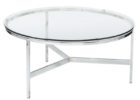 round brushed nickel coffee table glass