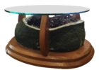 round citrine geode coffee table with glass on top