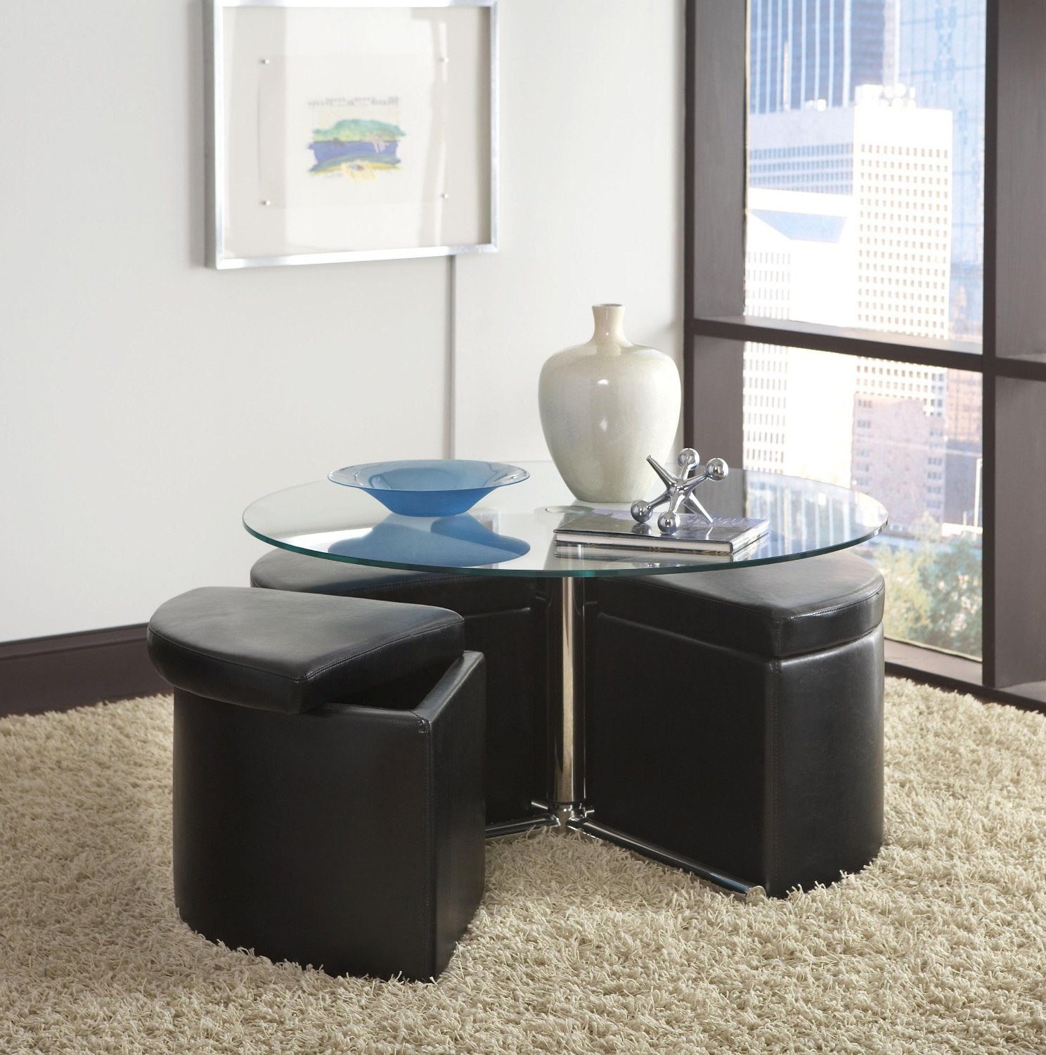 Round Coffee Table With Seats Ottoman Pull Out Raysa House - Round coffee table with pull out seats