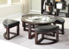 round coffee table with seats pull out