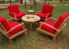 round coffee table with seats red chairs