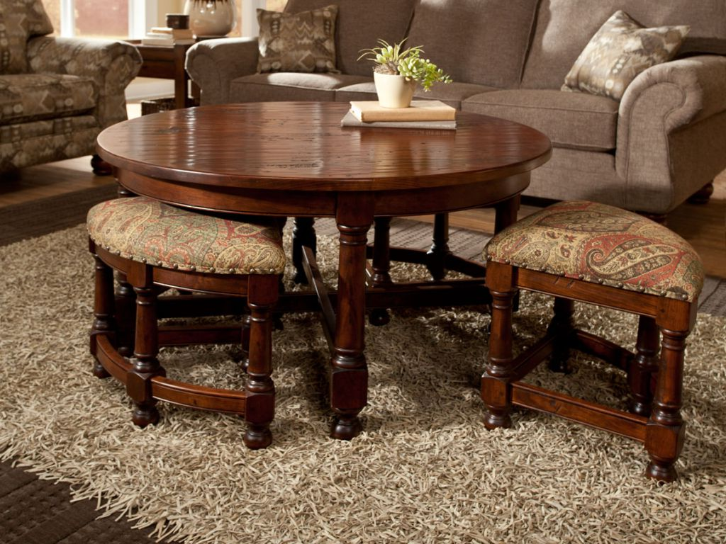 Round Coffee Table With Seats Underneath Pull Out Raysa House
