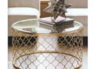 round gold coffee table tray