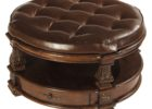 round leather cushion coffee table with storage