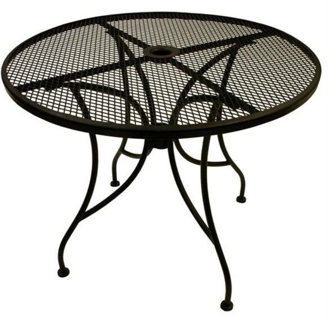 round metal outdoor coffee table with umbrella hole