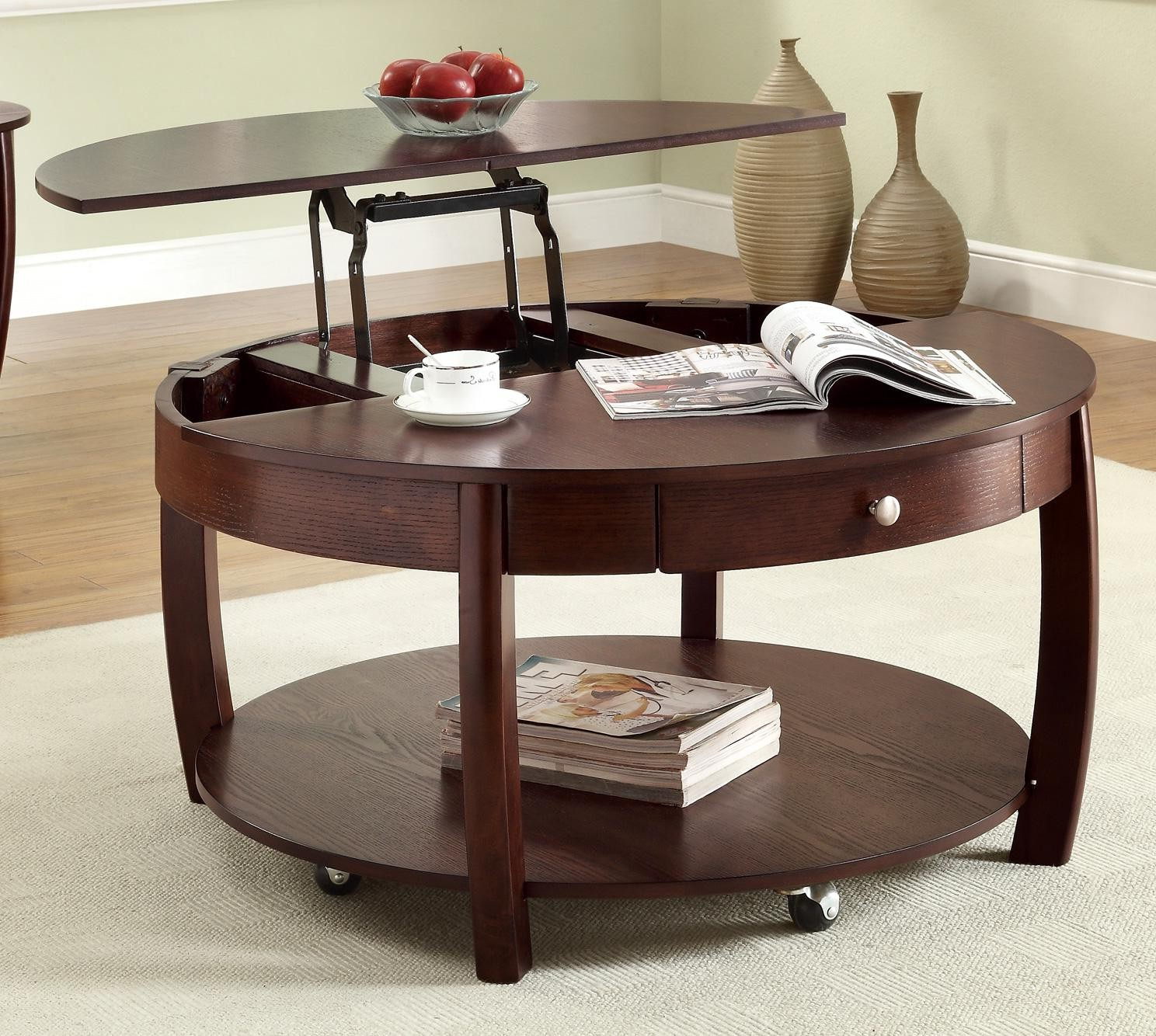 round pull up coffee table espresso