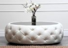 round tufted white leather ottoman coffee table