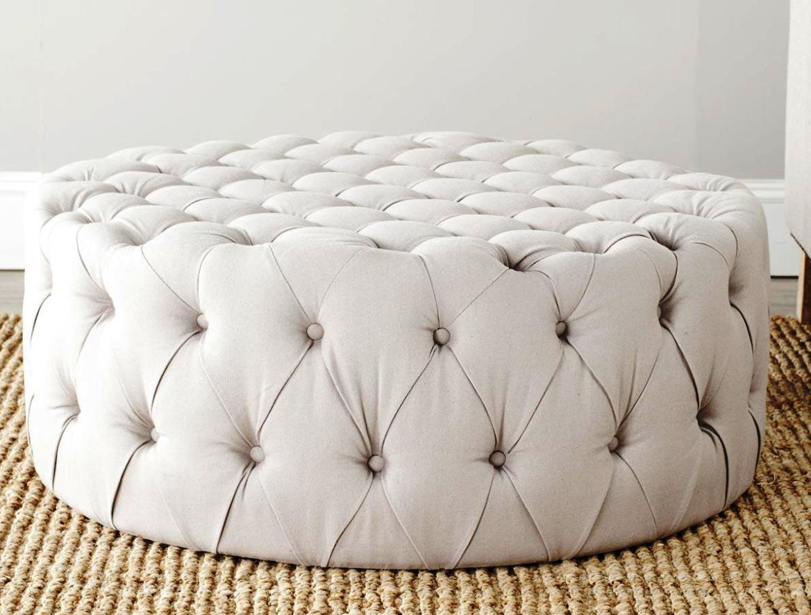 round tufted white leather ottoman coffee table furniture