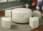 round tufted white leather ottoman coffee table with ottoman