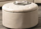 round tufted white leather ottoman coffee table with storage