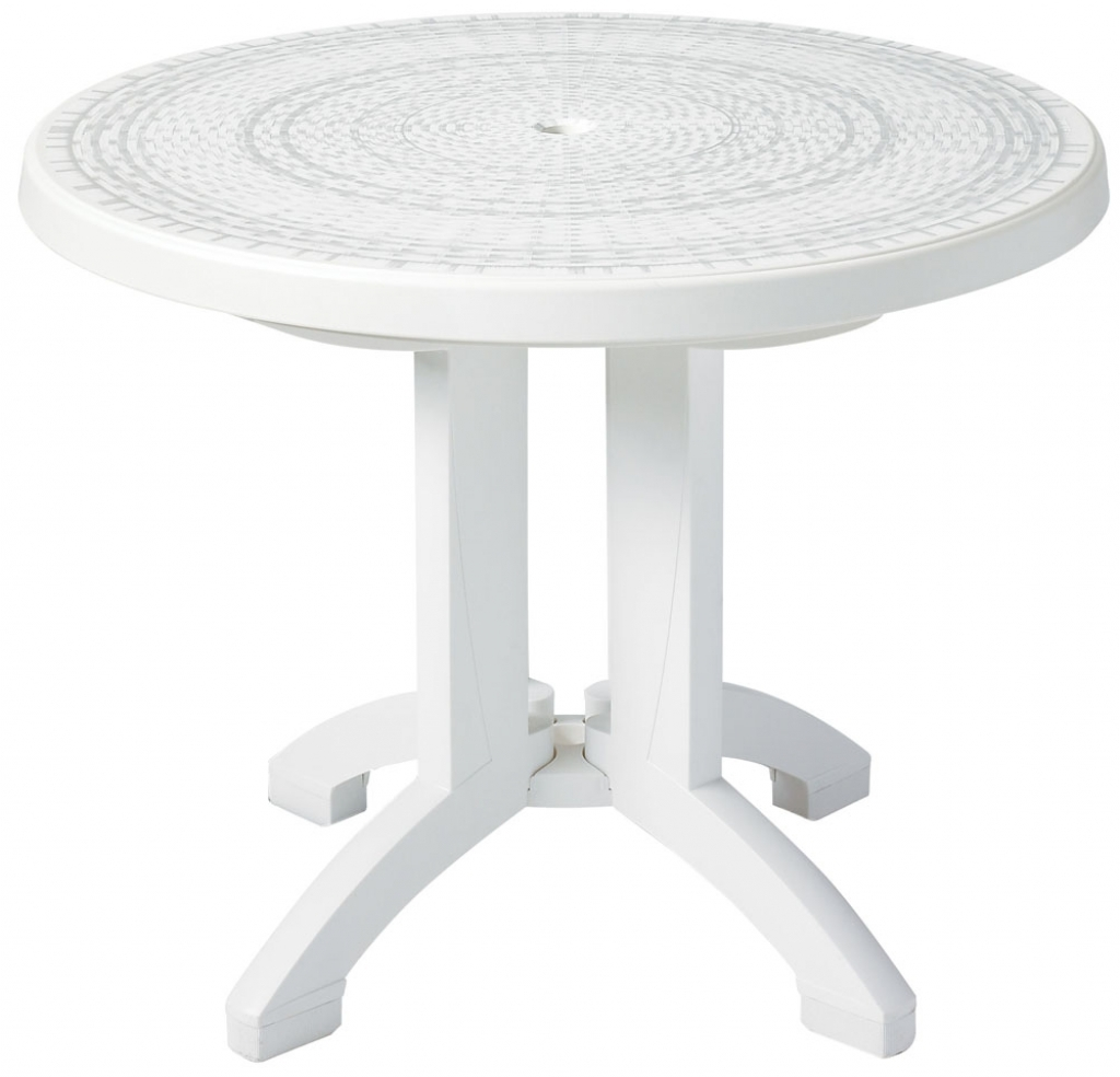 round white outdoor coffee table with umbrella hole