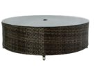 round wicker outdoor coffee table with umbrella hole