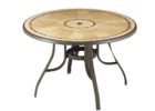 round wooden outdoor coffee table with umbrella hole
