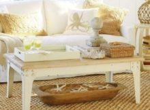 rustic beach themed coffee table decor