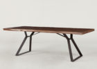 rustic reclaimed solid wood dining table with metal legs