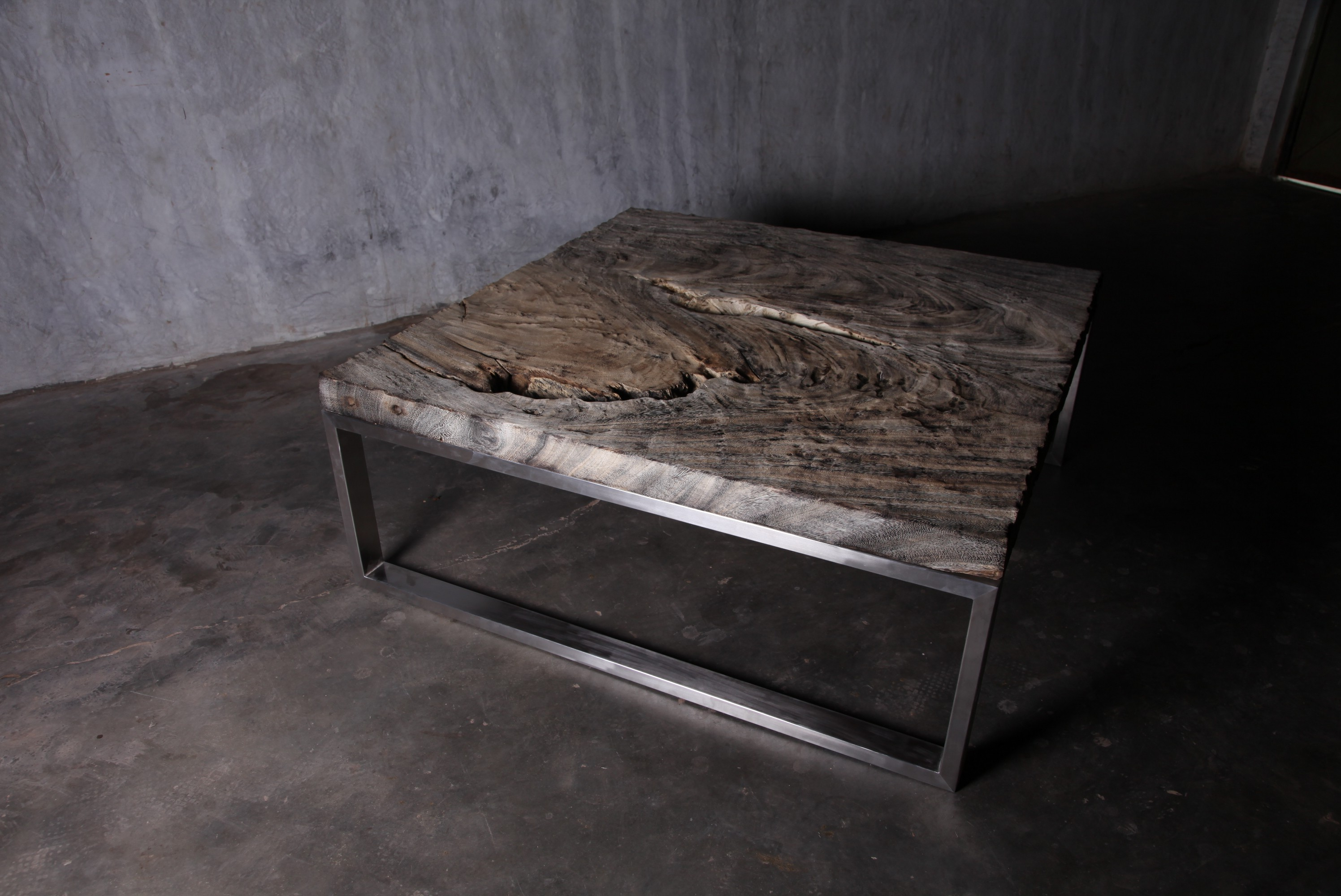 rustic reclaimed wood chrome and wood coffee table