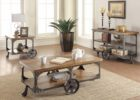rustic tv stand and coffee table set with wheels