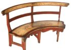 rustic wood curved settee for round dining table