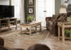 rustic wooden tv stand and coffee table set