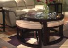 small glass round coffee table with seats pull out ottoman