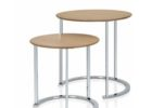small round chrome and wood coffee table