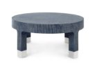 small round navy blue coffee table