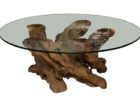 small round tempered glass driftwood coffee tables for sale