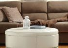 small round white leather ottoman coffee table