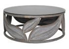 small round wood grey wash coffee table