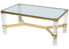 square acrylic coffee table with copper frame