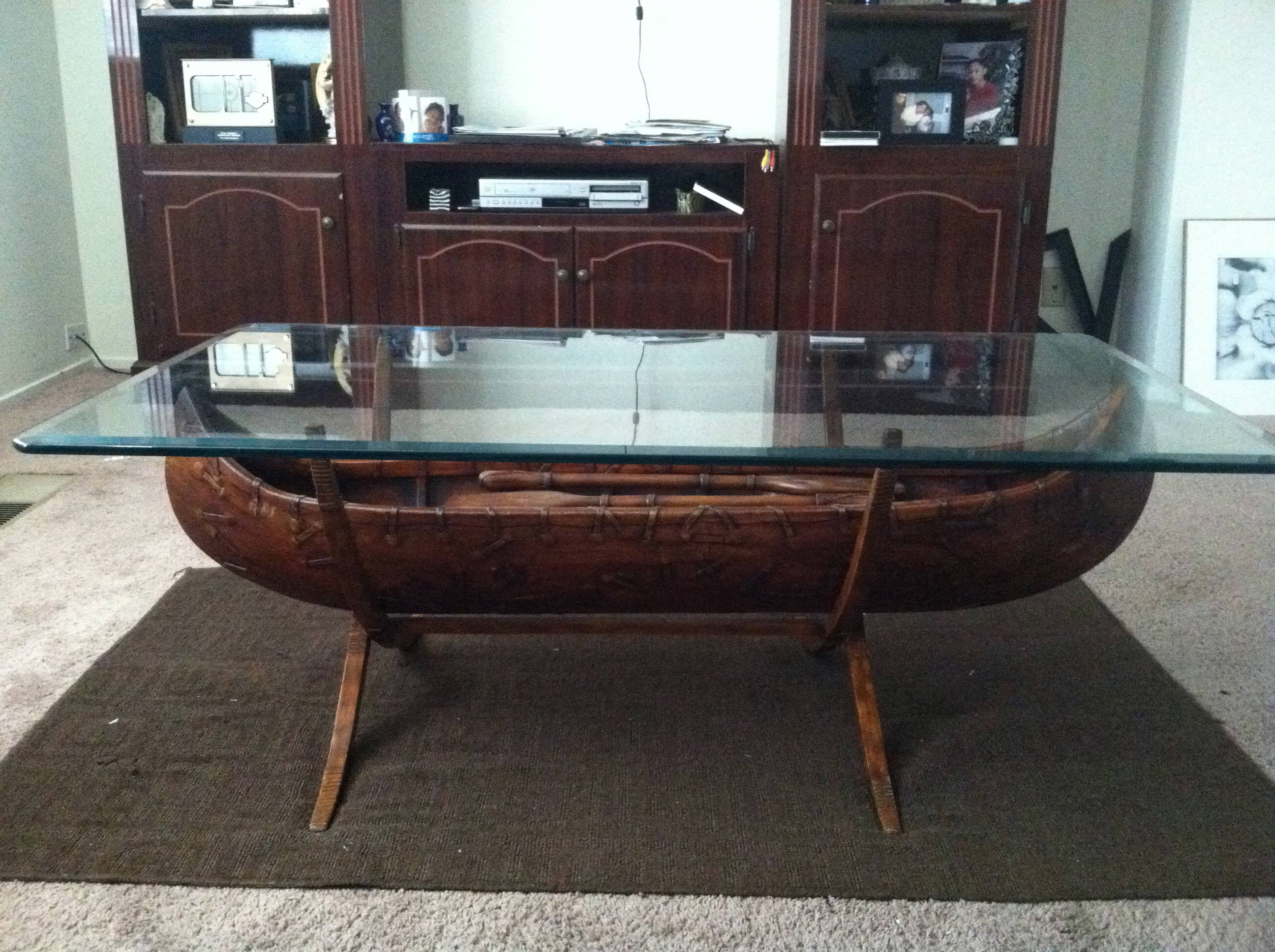 square glass wood canoe coffee table