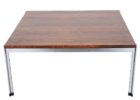square natural wood chrome and wood coffee table