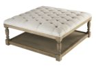 square tufted white leather ottoman coffee table