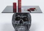 tempered glass skull coffee table