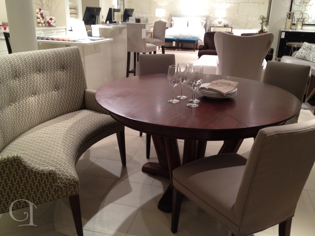 tufted curved settee for round dining table