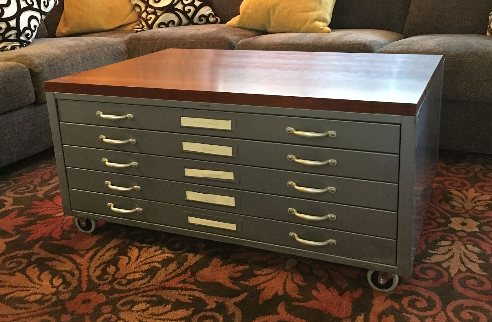 vintage potery flat file coffee table