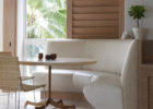 white leather curved bench for round dining table