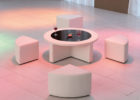 white modern round coffee table with seats
